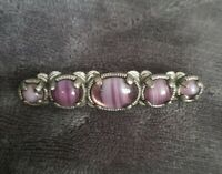Vtg Miracle Brooch Scottish Celtic Purple Glass Amethyst banded Agate  Britain
