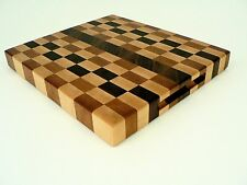 Handcrafted Walnut Cherry Maple Hardwood End Grain Cutting Board Chopping Cheese