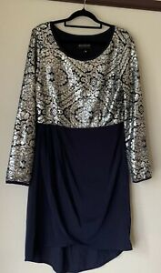 """AUGUSTINE""  SPARKLE sequin Cocktail Party wedding DRESS - Sz M Navy & Silver"