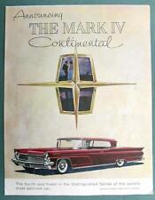 Original 1959 Lincoln Continental Ad ANNOUCING THE MARK IV CONTINENTAL