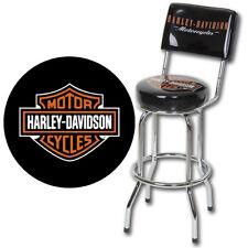 New Licensed Harley-Davidson Bar & Shield Logo Bar Stool w/ Backrest: HDL-12204