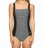 Speedo Womens Swimwear Black Space Gray Size 10 Colorblock One Piece $88 783