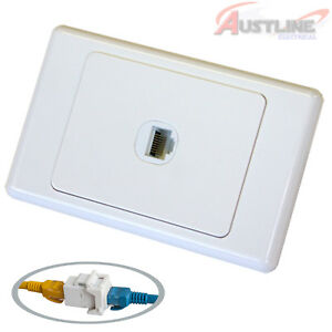 RJ45 Cat6 1Port Network LAN coupler Jack +1Gang Wall Plate cw1c6ff