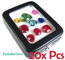 20 PCS TOP GLASS DISPLAY BOX JEWELRY GEM DIAMOND COIN 8.5x6.5 CM FREE SHIPPING