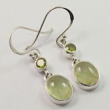 Natural PERIDOT & PREHNITE Gemstones Lovely Earrings 925 Solid Sterling Silver
