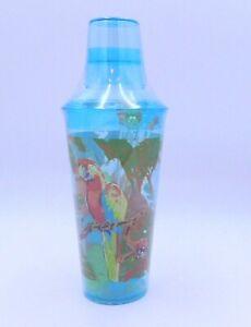Parrot Drink Cocktail Shaker Martini Mixer Set Blue Acrylic Macaw Bird Ice Stir