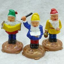 """Vintage Miniature Hard Plastic Gnome Dwarf Figures Cake Topper Hong Kong Mini 2"""""""