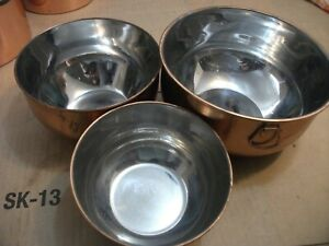 VINTAGE UNBRANDED MIXING BOWLS COPPER / STAINLESS STEEL