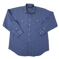 Roper Mens Size XXL 2XL Blue & White Long Sleeve Western Shirt