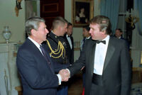 President Ronald Reagan meets Donald Trump at the White House 1987 Photo Print