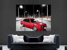 ROUGE BMW Voiture Affiche E34 vintage 520I Pont Art mural grande image Giant