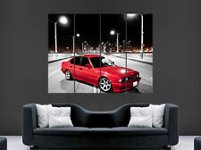 RED BMW CAR E34 POSTER VINTAGE 520I BRIDGE ART WALL LARGE IMAGE GIANT
