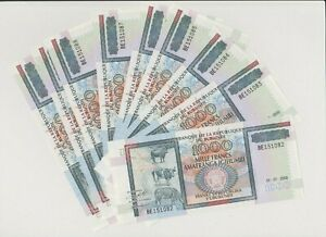 BURUNDI P 39c 10 X 1000 FRANCS 2000 COW UNC  CONSECECUTIVE NUMBERS