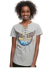 """Juniors' """"Outlaw Country"""" Lace-Up Graphic Tee Color: Gray Heather, Size: S"""