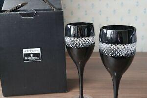 "2 Waterford Crystal John Rocha ""Black Cut"" Red Wine Glasses + Box, Superb 23cm"