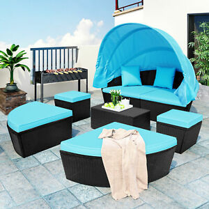 Outdoor Rattan Daybed Sunbed Canopy Wicker Furniture Round Sectional Sofa Set