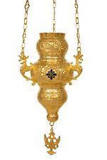 "Orthodox Gold Plated Hanging Vigil Oil Church Lamp Corfu Enamel Cross 9"" 23cm"