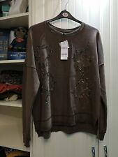 BNWT NEXT TALL BROWN LONG SLEEVE EMBELLISHED SWEAT STYLE TOP SIZE 18T