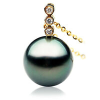 Genuine Tahitian Diamond Black Pearl Pendant 12mm Pacific Pearls® Gifts for Wife