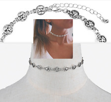 Retro Jewelry Charm Star Shape Pendant Collar Necklace Boho Chain Crystal Choker