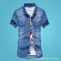 New Fashion Men's Cotton Jean Casual Washed Slim Fit Denim Tops Shirts