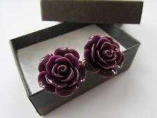 Stylish Aubergine Purple Rose Flower Mens Cufflinks Boxed - Handmade Mens Gift