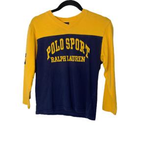 Vintage Polo Sport Ralph Lauren Sweater Boys Medium Yellow V-Neck Long Sleeves
