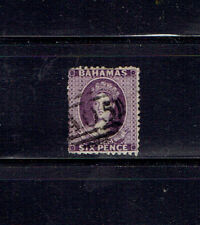 Bahamas  #14  1863-65  6 Pence Dark Violet Used SCV $85