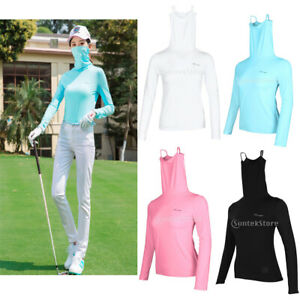 Women Golf T-shirt Tops with Long Sleeve Anti-UV Face Mask for Summer Camping