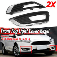 Paire Phare avant Anti-brouillard Housse Cadre Chrome Noir Pour Ford Focus