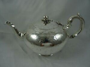 STUNNING VICTORIAN solid silver TEA POT, 1850, 559gm - BARNARDS