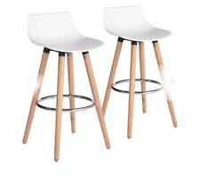 Set of 2 Scandinavian white plastic wooden bar stools