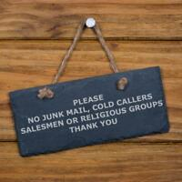 No Junk Mail, Cold Callers, Salesmen or Religious Groups - Engraved Sign SL-RC27