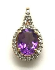 Sterling Silver 925 Gold Tone Oval Purple Amethyst / Diamond Halo Bail Pendant