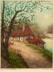 Orig. Aquatint Etching-RENE RAFFRAY-Sur la Canche French Scene-1936-French River