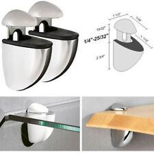 2 Steel Floating Glass Bathroom Wall Display Shelving Shelf Adjustable Brackets