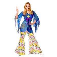 Adult WOODSTOCK HIPPIE Fancy Dress Flower Power 60s Ladies Costume UK Size 10-24