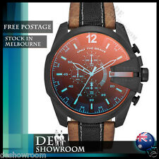 Diesel Mega Chief  Iridescent Red Dial Brown Leather DZ4305 - Free shipping