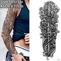 Sword Full Arm Temporary Tattoo Sleeve Stickers Body Art 3D Tattoo Waterproof