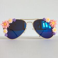 Cosmos - PinksAndMinks Blue Reflective Embellished Sunglasses Pink Purple Flower