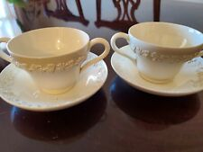 New ListingSet of 2 Wedgwood Queensware Grapes Bouillon Cream Soup footed Cups Saucers