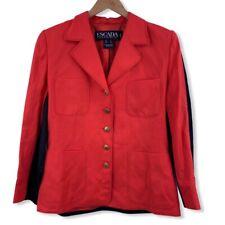 Escada Red Black Paneled Contrast Stitch Jacket Size 38