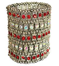 Wide Band Crystal Silver Bead Cuff Arm Chunky Woman Warrior Stretch Bracelet