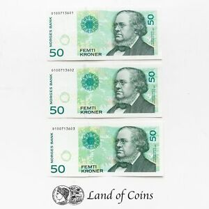 NORWAY: 3 x 50 Norwegian Krone Banknotes with Consecutive Serial Numbers.