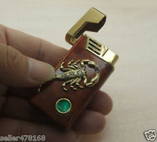 Metal green LED Gas flame Scorpion LIGHTER for CIGAR CIGARETTE Flame LIGHTERS