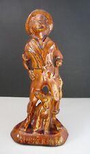 "Vintage  Huckelberry ""Huck"" Finn & His Dog Pottery Figurine Glossy Brown Glaze"