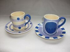 Set of 2 Whittard of Chelsea Spots & Stripe Espresso Cups & Saucers