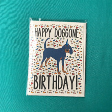 Black and Tan Coonhound Happy Birthday Card Handmade Puppy Dog Bday Notecard