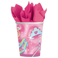 Princess 8 Paper Cups 266ml Girls Birthday Party