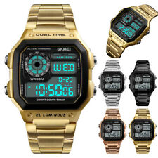SKMEI Mens LED Digital Date Waterproof Stainless Steel Military Wrist Watch